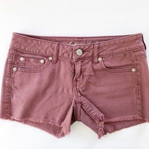 American Eagle Burgundy Denim Fringe Shorts